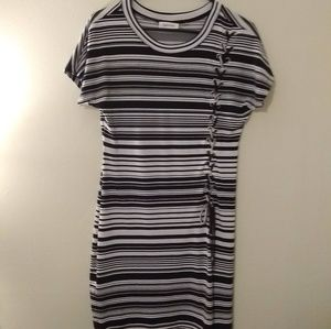 Calvin Klein Short Sleeve Lace Up Striped Dress